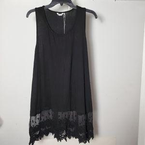 NWT Kaktus Sleeveless Tunic Lace Top Black 1X
